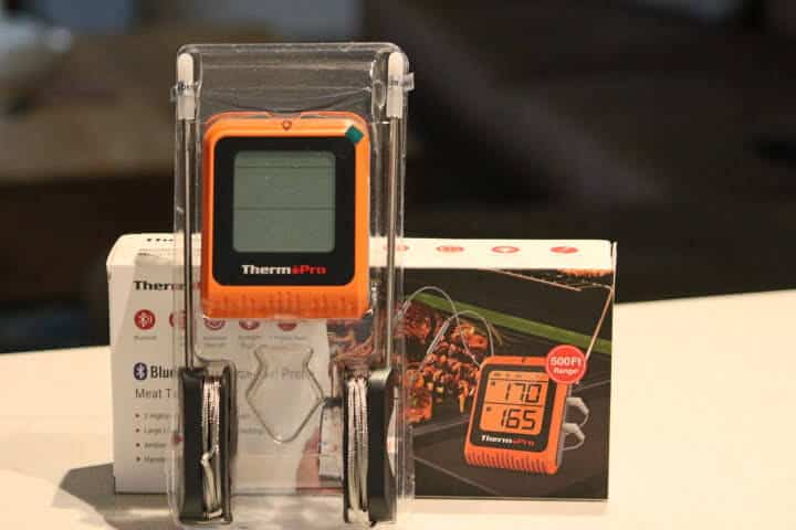 ThermoPro TP-25H2 Dual-Probe Bluetooth Meat Thermometer in its packaging outside of the box it came in