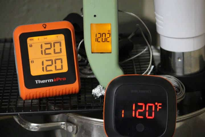 From left to right, the ThermoPro TP-25H2, Thermapen MK4, and Inkbird IBT-4XS Bluetooth meat thermometer.