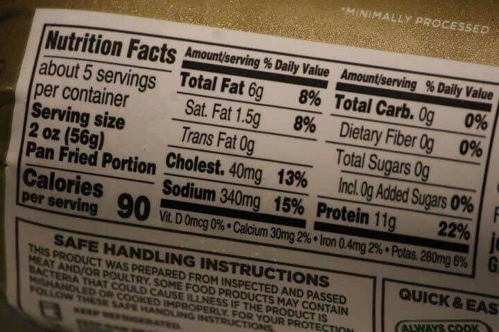 The nutritional facts on the back of a turkey sausage tube