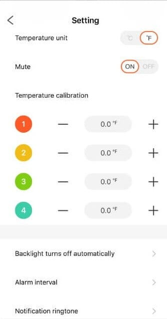 BBQGo Pro App section that controls the calibration and backlight functions