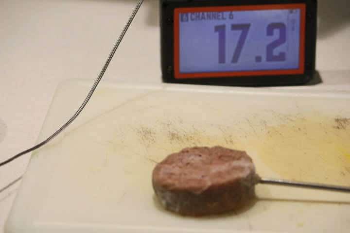 A frozen turkey sausage patty measuring 17 degrees Fahrenheit