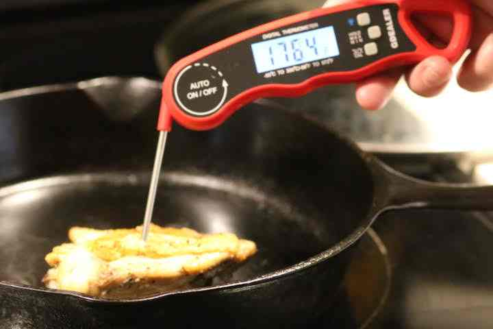 Checking the internal temperature of a chicken thigh cooking in a cast iron skillet with the G Dealer DT09.