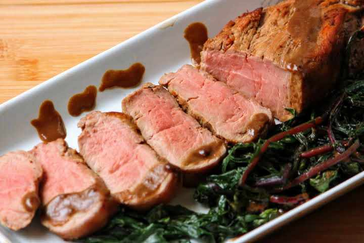 Grilled pork tenderloin with a balsamic honey dijon pan sauce