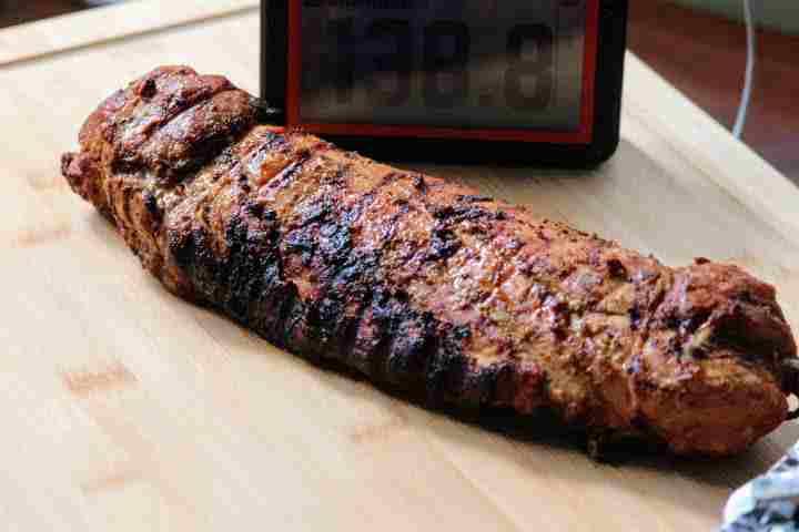 Recently grilled pork tenderloin after resting for 5 minutes registering 138.8 degrees Fahrenheit