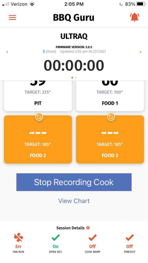 The View Chart Button on the BBQ Guru mobile app is a little too close to the stop recording cook button