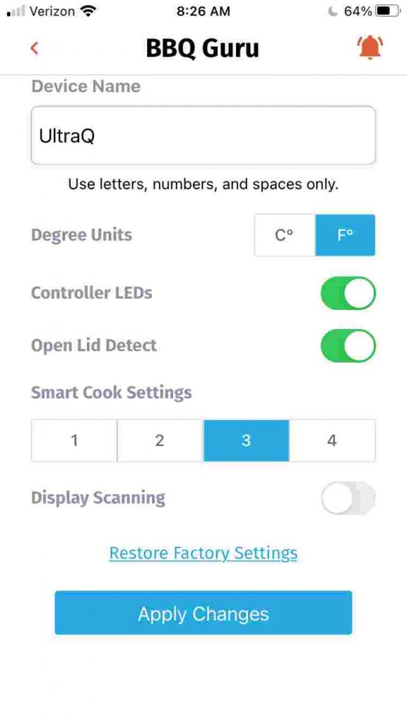 The BBQ Guru mobile app controller settings screen