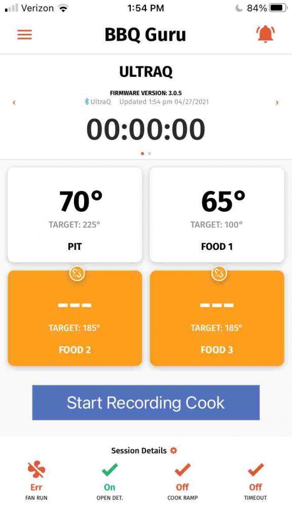 The BBQ Guru mobile app main window