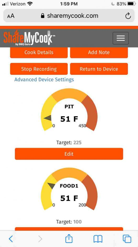 The main dashboard for viewing your cooks on sharemycook.com
