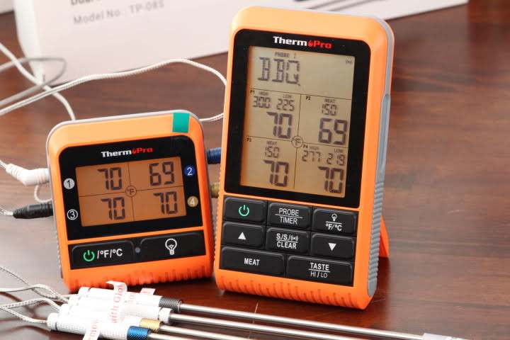 Closeup image of the ThermoPro TP829 Remote Wireless Meat Thermometer Transmitter and Receiver units