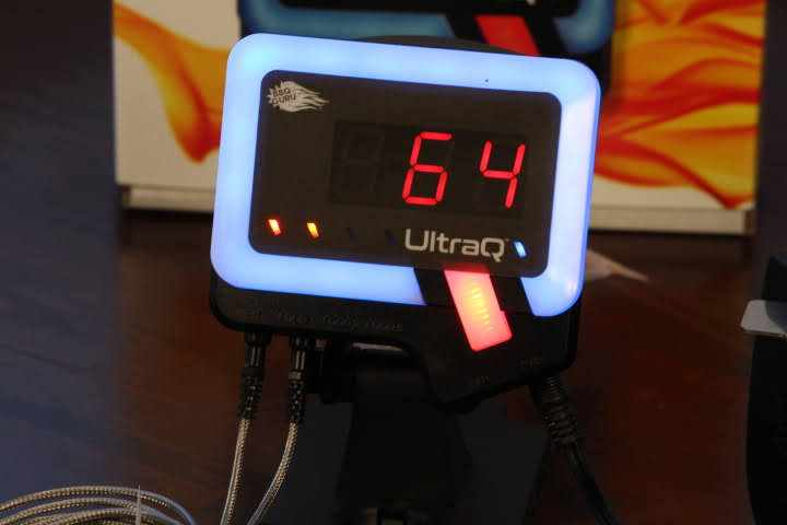 The BBQ Guru UltraQ on its magnetic mobile mount