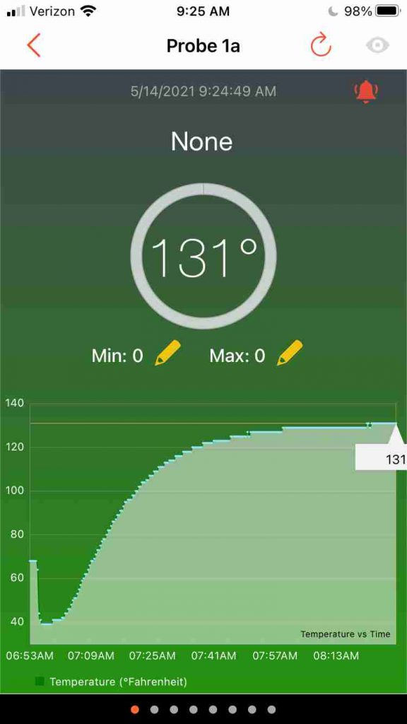 The Temperature section of the Tappecue mobile app