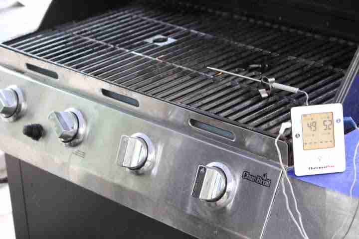 Creating a hot side and a cool side of a gas grill by turning on the burners on just one side