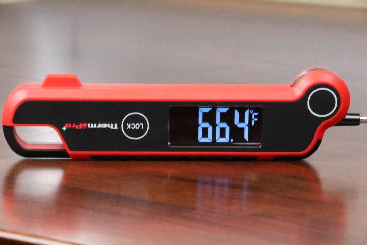 ThermoPro TP620 Digital Instant-Read Meat Thermometer upside down displaying 66.4 Fahrenheit on its 180-degree display screen