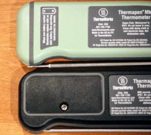 The updated battery compartment of the Black Thermapen ONE allows easier access to user settings