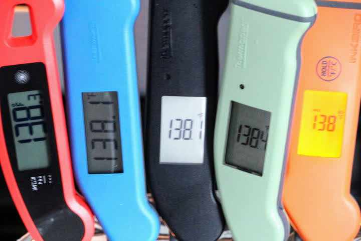 (left to right) The Lavatools Javelin PRO Duo, Classic Thermapen, Thermapen ONE, Thermapen MK4, and the Inkbird IHT-1S instant-read meat thermometers all monitoring the same water bath temperature.