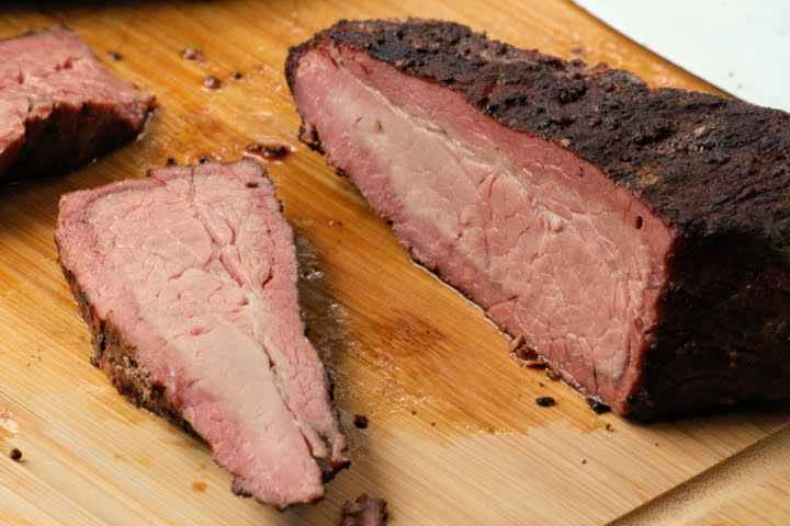 A tri tip that was smoked for 2hrs with a very prominent smoke ring
