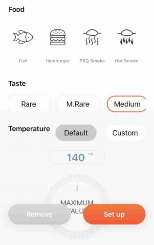 The Inkbird Pro app's temperature adjustment screen gives you many different options and preset temperatures