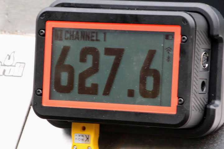FireBoard 2 Pro smart thermometer attached to a propage gas grill measuring 627.6 degrees Fahrenheit on its display screen