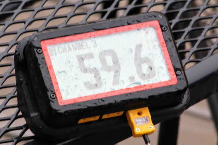 Closeup image of the FireBoard 2 Pro oustide in the rain with a large amount of visible rain on its display screen